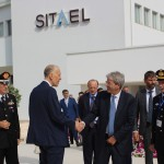 Mr. Vito Pertosa, founder of SITAEL and Angelo Group, welcoming the Italian Prime Minister Paolo Gentiloni