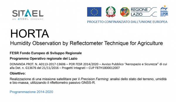 HORTA - Humidity Observation by Reflectometer Technique for Agriculture